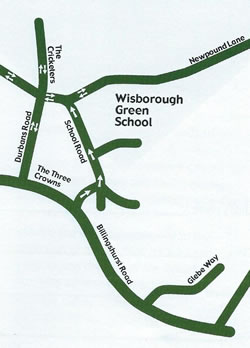 Diagram showing the School Road voluntary one way system.