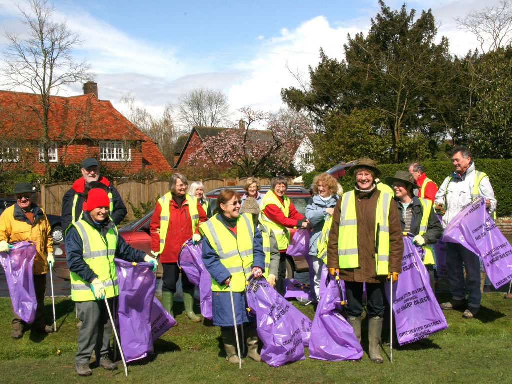 A group of residents litter picking.