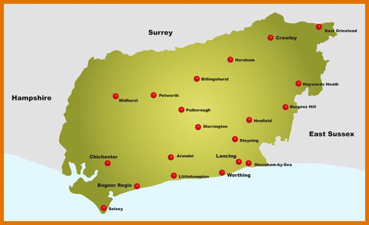 A map showing the area covered by West Sussex County Council
