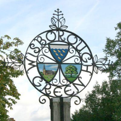 Village sign close up